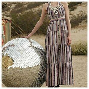 Maeve Multi-Color Striped Halter Maxi Dress 6